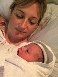 Just minutes old...welcome Theodore Samuel Kerr with daughter Robyn.
